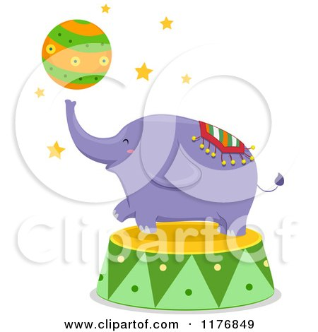 Cartoon of a Purple Circus Elephant Playing with a Ball - Royalty Free Vector Clipart by BNP Design Studio
