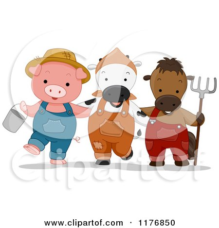 Cartoon of a Farmer Pig Cow and Horse with a Bucket and Rake - Royalty Free Vector Clipart by BNP Design Studio