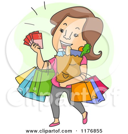 Cartoon of a Happy Brunette Woman with Coupons and Shopping Bags - Royalty Free Vector Clipart by BNP Design Studio
