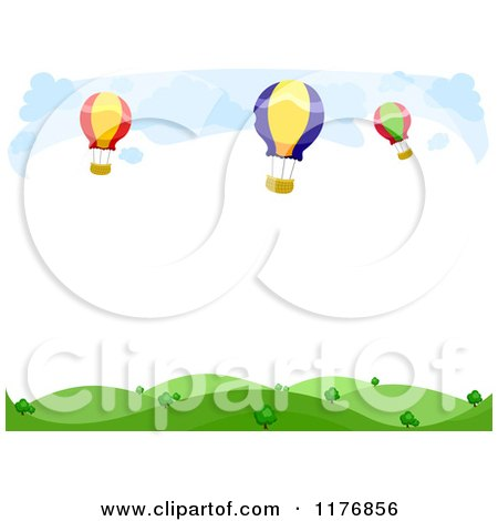 Cartoon of a Background of Hot Air Balloons over Hills with Copyspace - Royalty Free Vector Clipart by BNP Design Studio