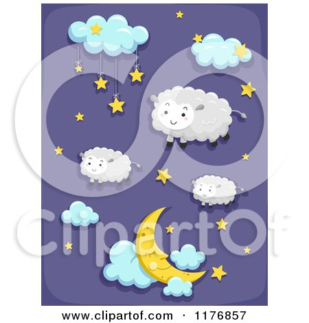 Cartoon of a Starry and Cloudy Night Sky with Sheep - Royalty Free Vector Clipart by BNP Design Studio