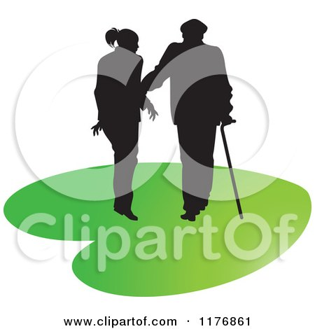 Clipart of a Silhouetted Caring Nurse Walking with a Man and a Cane on a Green Heart - Royalty Free Vector Illustration by Lal Perera