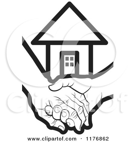 Clipart of a Black and White Young Hand Holding a Senior Hand with a House - Royalty Free Vector Illustration by Lal Perera