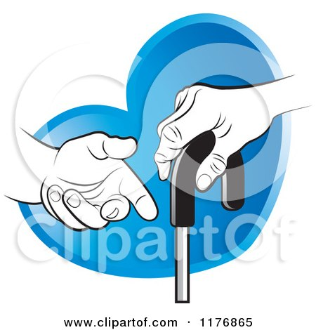 Clipart of a Helping Hand Offering Assistance to a Senior ...