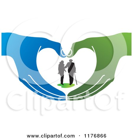 Clipart of a Silhouetted Caring