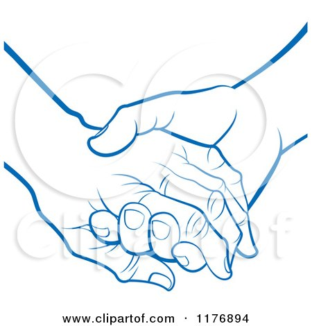 Clipart of a Blue Young Hand Holding a Senior Hand - Royalty Free Vector Illustration by Lal Perera