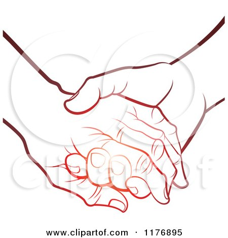 Clipart of a Gradient Red Young Hand Holding a Senior Hand - Royalty Free Vector Illustration by Lal Perera