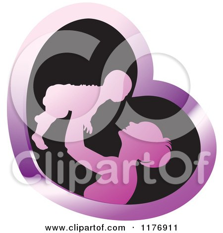 Clipart of a Nurturing Mother Holding up a Baby in a Purple and Black Heart - Royalty Free Vector Illustration by Lal Perera