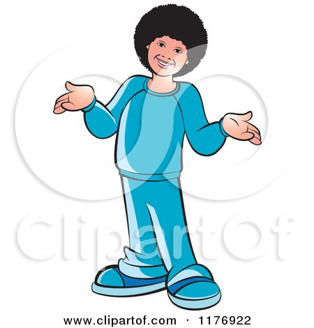 Clipart of a Happy Boy with a Fro, Laughing and Shrugging - Royalty Free Vector Illustration by Lal Perera