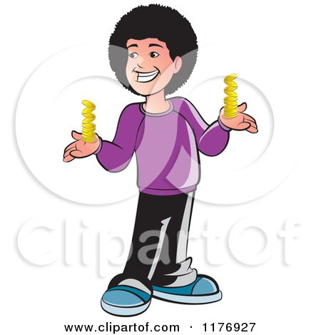 Clipart of a Happy Boy with a Fro, Holding Gold Coins - Royalty Free Vector Illustration by Lal Perera