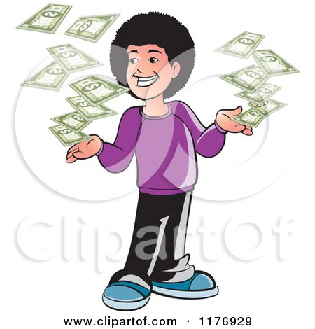 Clipart of a Happy Boy with a Fro and Falling Cash - Royalty Free Vector Illustration by Lal Perera