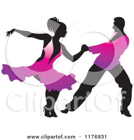 Clipart of a Ballroom Dancer Couple in Purple Outfits - Royalty Free Vector Illustration by Lal Perera