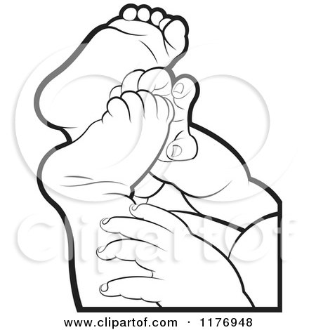 Clipart of Black and White Baby Feet and Hands - Royalty Free Vector Illustration by Lal Perera