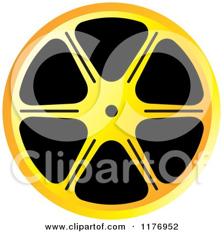 Clipart of a Yellow and Orange Film Reel - Royalty Free Vector Illustration by Lal Perera
