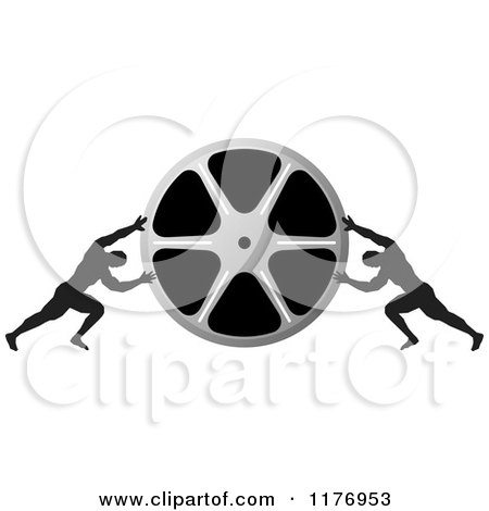 Clipart of Two Men Pushing Inward on a Silver Film Reel - Royalty Free Vector Illustration by Lal Perera