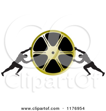 Clipart of Two Men Pushing Inward on a Gold Film Reel - Royalty Free Vector Illustration by Lal Perera