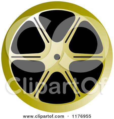 Clipart of a Golden Film Reel - Royalty Free Vector Illustration by Lal Perera