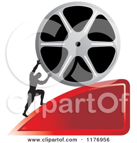 Clipart of a Silhouetted Man Pushing a Film Reel over a Red Wedge - Royalty Free Vector Illustration by Lal Perera