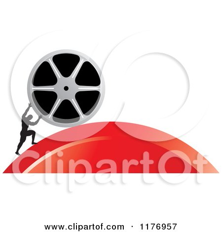 Clipart of a Silhouetted Man Pushing a Film Reel over a Red Hill - Royalty Free Vector Illustration by Lal Perera