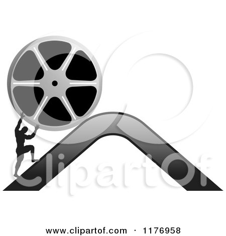Clipart of a Silhouetted Man Pushing a Film Reel over a Mountain - Royalty Free Vector Illustration by Lal Perera