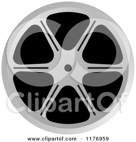 Clipart of a Silver Film Reel - Royalty Free Vector Illustration by Lal Perera