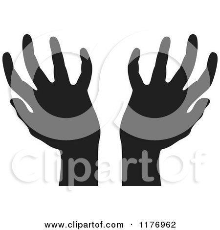 Clipart of Silhouetted Worship Hands - Royalty Free Vector Illustration by Lal Perera