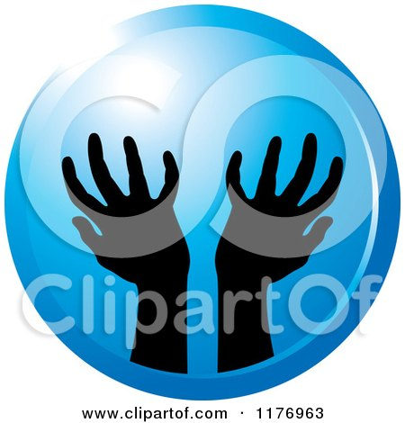 Clipart of Silhouetted Worship Hands on a Blue Circle - Royalty Free Vector Illustration by Lal Perera