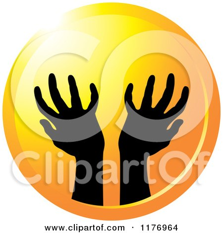 Clipart of Silhouetted Worship Hands on a Sunset Circle - Royalty Free Vector Illustration by Lal Perera