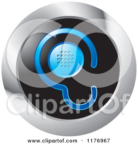 Clipart of a Blue Ear Design with a Speaker on a Black and Silver Icon - Royalty Free Vector Illustration by Lal Perera