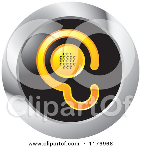 Clipart of a Yellow Ear Design with a Speaker on a Black and Silver Icon - Royalty Free Vector Illustration by Lal Perera