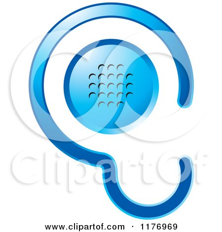 Clipart of a Blue Ear Design with a Speaker - Royalty Free Vector Illustration by Lal Perera
