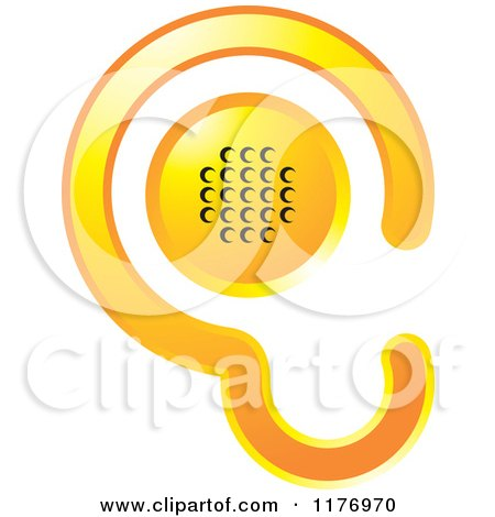 Clipart of a Gradient Yellow Ear Design with a Speaker - Royalty Free Vector Illustration by Lal Perera