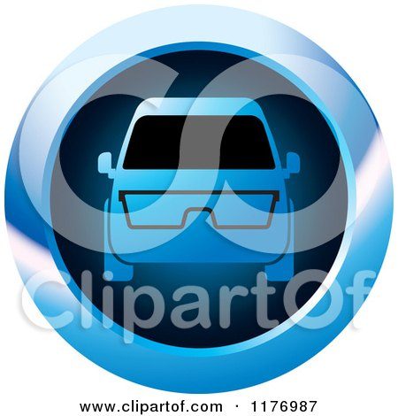 Clipart of a Mini Van with Glasses on a Blue Icon - Royalty Free Vector Illustration by Lal Perera