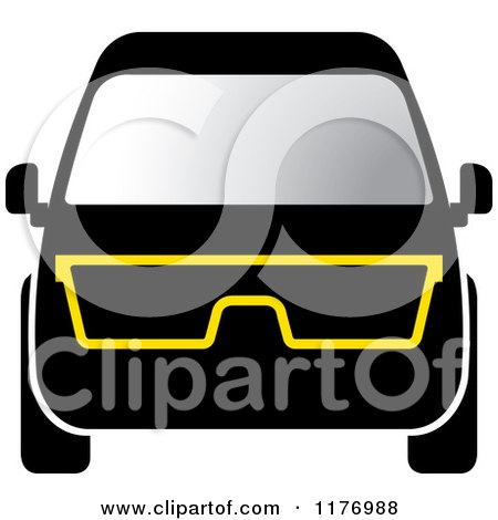 Clipart of a Black Mini Van with Eye Glasses - Royalty Free Vector Illustration by Lal Perera