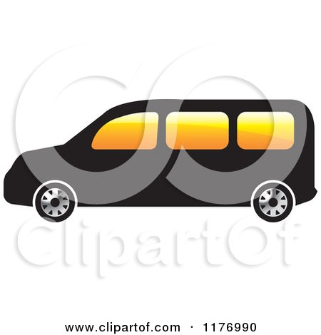 Clipart of a Black Mini Van with Orange Windows - Royalty Free Vector Illustration by Lal Perera