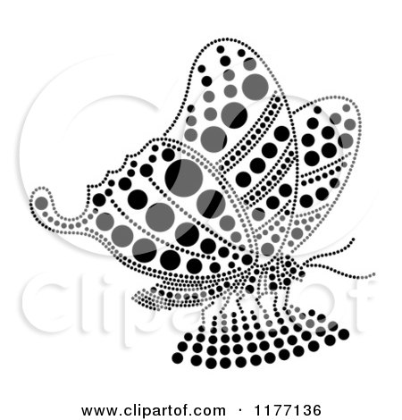 Clipart of a Black Rhinestone Dot Butterfly - Royalty Free Vector Illustration by Cherie Reve
