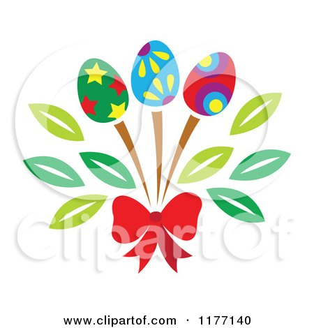 Clipart of a Bouquet of Easter Egg Flowers and a Red Bow - Royalty Free Vector Illustration by Cherie Reve