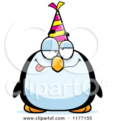 Cartoon of a Drunk Birthday Penguin Wearing a Party Hat - Royalty Free Vector Clipart by Cory Thoman