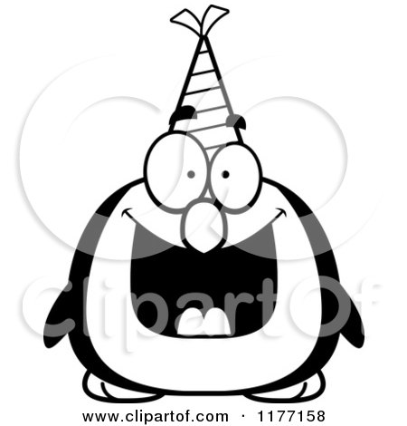 Cartoon of a Happy Birthday Penguin Wearing a Party Hat - Royalty Free Vector Clipart by Cory Thoman
