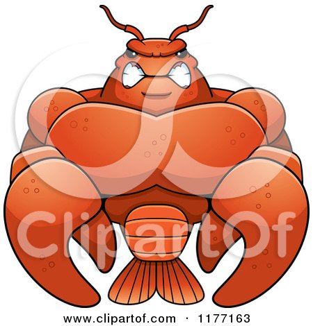 Cartoon of a Tough Muscular Crawfish - Royalty Free Vector Clipart by Cory Thoman