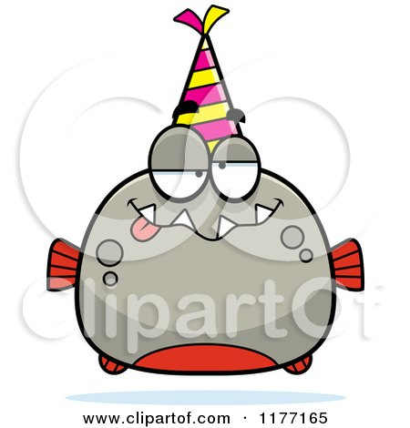Cartoon of a Drunk Birthday Piranha Wearing a Party Hat - Royalty Free Vector Clipart by Cory Thoman