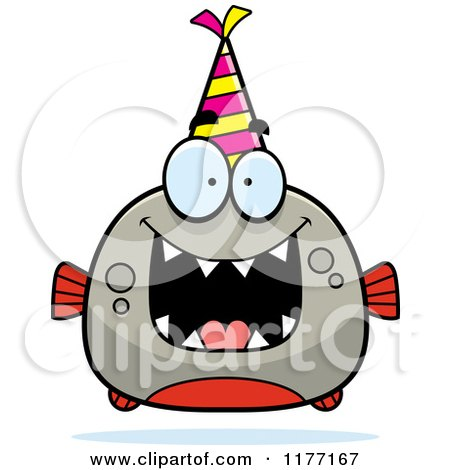 Cartoon of a Happy Birthday Piranha Wearing a Party Hat - Royalty Free Vector Clipart by Cory Thoman