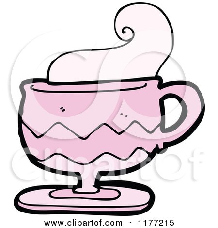 Cartoon Of A Pink Cup of Coffee With Steam - Royalty Free Vector Clipart by lineartestpilot