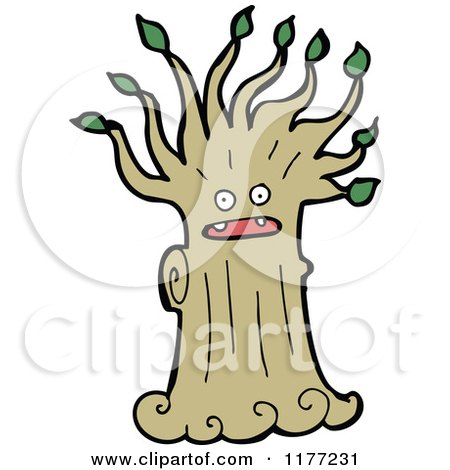 Cartoon Of A Tree Ent - Royalty Free Vector Clipart by lineartestpilot