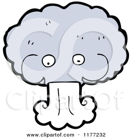 Cartoon of a Windy Cloud Blowing - Royalty Free Vector ...