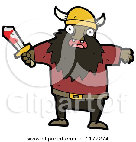 Cartoon Of A Black Viking With A Bloody Sword - Royalty Free Vector Clipart by lineartestpilot