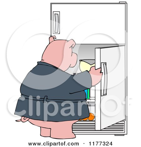 Cartoon of a Fat Pig Staring into a Fridge - Royalty Free Vector Clipart by djart