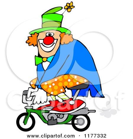 Cartoon Of A Circus Clown Riding A Mini Bike Royalty Free Vector Clipart