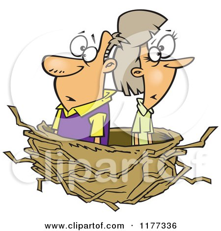 Cartoon of a Middle Aged Couple in an Empty Nest - Royalty Free Vector Clipart by toonaday