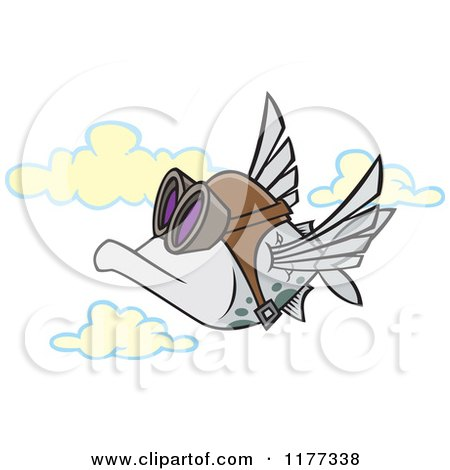 Cartoon of a Pilot Fish Flying - Royalty Free Vector Clipart by toonaday